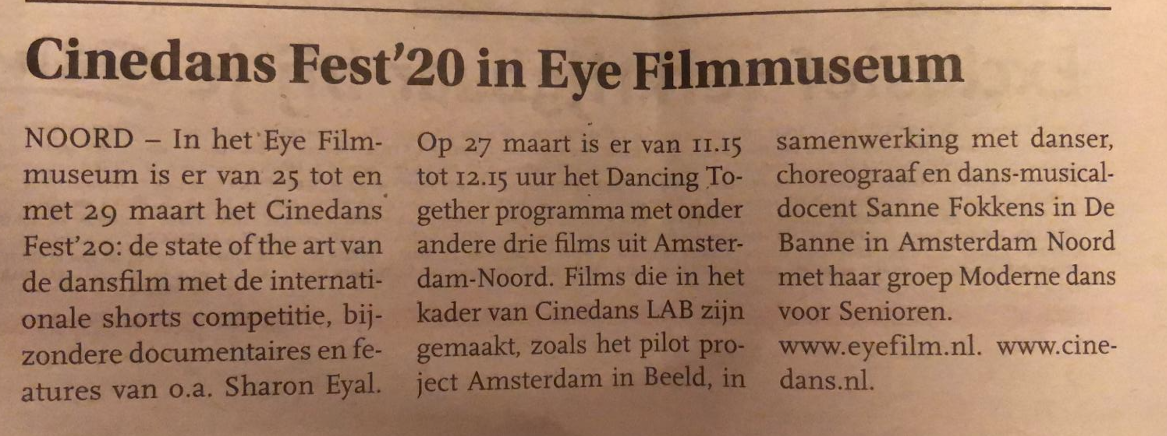 SF en Cinedans in de krant